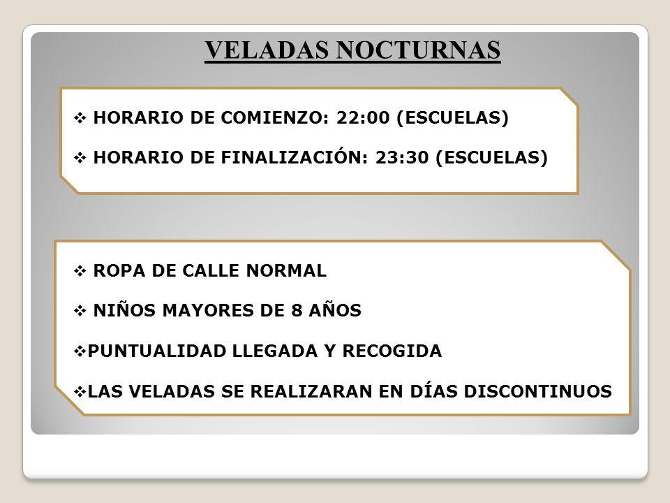 VELADAS NOCTURNAS HORARIO DE COMIENZO: 22:00 (ESCUELAS) HORARIO DE FINALIZACIÓN: 23:30 (ESCUELAS) ROPA DE CALLE NORMAL NIÑOS MAYORES DE 8 AÑOS PUNTUALIDAD LLEGADA Y RECOGIDA LAS VELADAS SE REALIZARAN EN DÍAS DISCONTINUOS