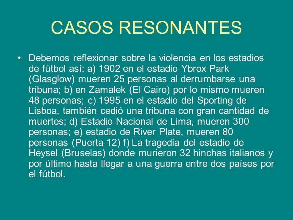 CASOS RESONANTES Debemos reflexionar sobre la violencia en los estadios de fútbol así: a) 1902 en el estadio Ybrox Park (Glasglow) mueren 25 personas