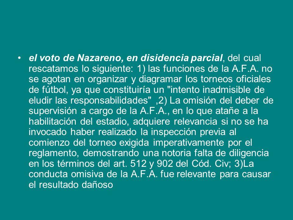 el voto de Nazareno, en disidencia parcial, del cual rescatamos lo siguiente: 1) las funciones de la A.F.A. no se agotan en organizar y diagramar los