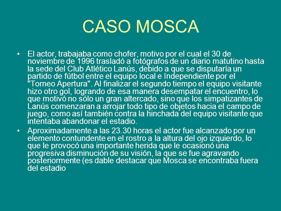 CASO MOSCA El actor, trabajaba como chofer, motivo por el cual el 30 de noviembre de 1996 trasladó a fotógrafos de un diario matutino hasta la sede de