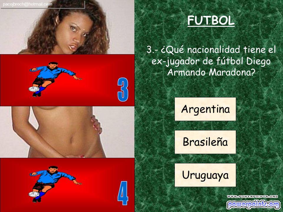 FUTBOL 2.- ¿En qué club español militó el mítico jugador Alfredo Di Estéfano? Albacete Logroñés Real Madrid pacojbroch@hotmail.com