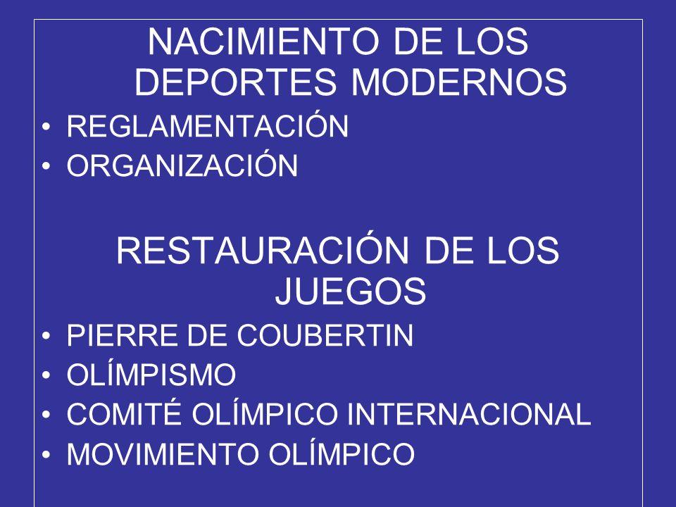 NACIMIENTO DE LOS DEPORTES MODERNOS REGLAMENTACIÓN ORGANIZACIÓN RESTAURACIÓN DE LOS JUEGOS PIERRE DE COUBERTIN OLÍMPISMO COMITÉ OLÍMPICO INTERNACIONAL