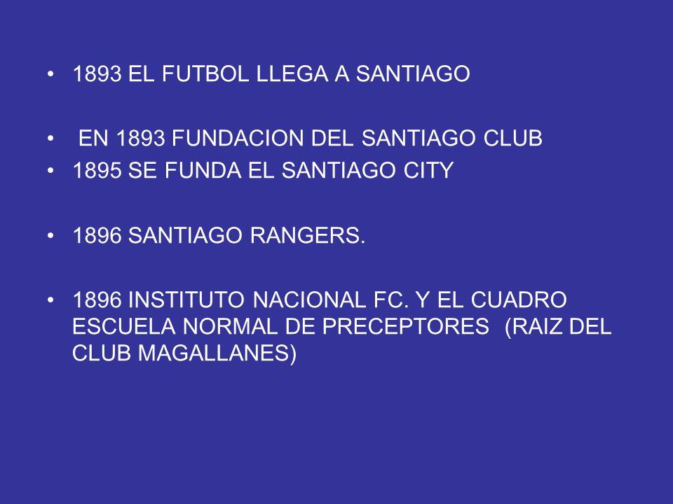 1893 EL FUTBOL LLEGA A SANTIAGO EN 1893 FUNDACION DEL SANTIAGO CLUB 1895 SE FUNDA EL SANTIAGO CITY 1896 SANTIAGO RANGERS. 1896 INSTITUTO NACIONAL FC.
