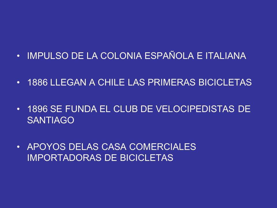 IMPULSO DE LA COLONIA ESPAÑOLA E ITALIANA 1886 LLEGAN A CHILE LAS PRIMERAS BICICLETAS 1896 SE FUNDA EL CLUB DE VELOCIPEDISTAS DE SANTIAGO APOYOS DELAS