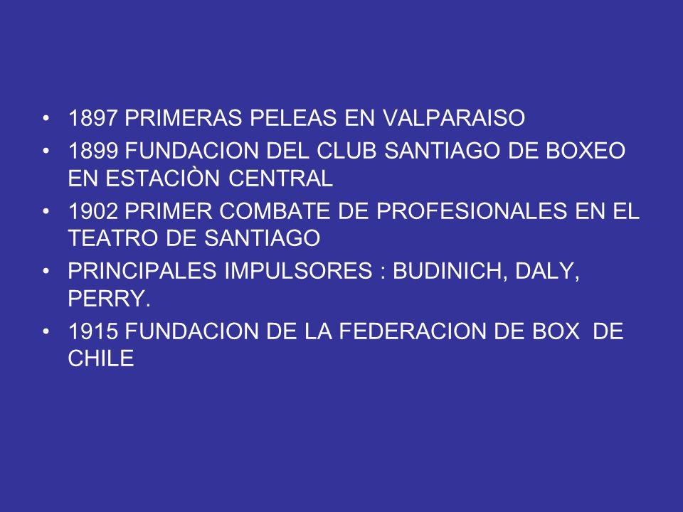 1897 PRIMERAS PELEAS EN VALPARAISO 1899 FUNDACION DEL CLUB SANTIAGO DE BOXEO EN ESTACIÒN CENTRAL 1902 PRIMER COMBATE DE PROFESIONALES EN EL TEATRO DE