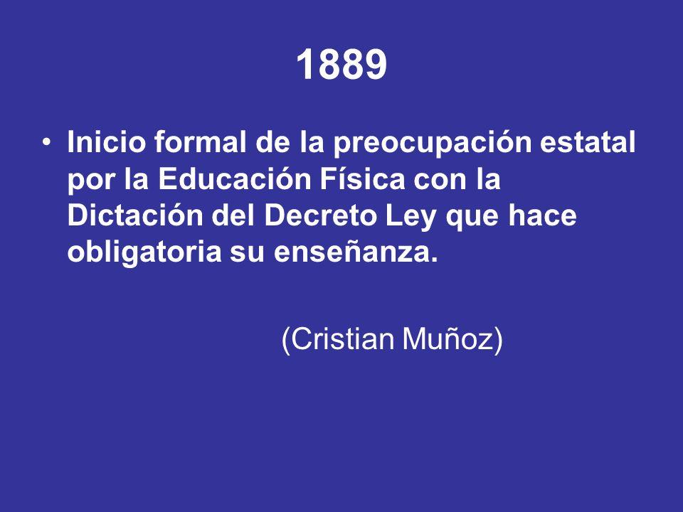 1889 Inicio formal de la preocupación estatal por la Educación Física con la Dictación del Decreto Ley que hace obligatoria su enseñanza. (Cristian Mu
