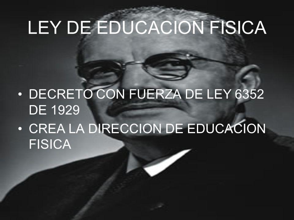 LEY DE EDUCACION FISICA DECRETO CON FUERZA DE LEY 6352 DE 1929 CREA LA DIRECCION DE EDUCACION FISICA