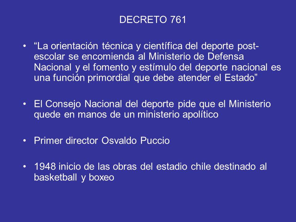 DECRETO 761 La orientación técnica y científica del deporte post- escolar se encomienda al Ministerio de Defensa Nacional y el fomento y estímulo del