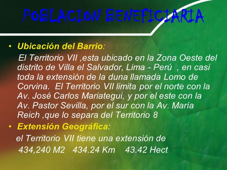 POBLACION BENEFICIARIA Ubicación del Barrio: El Territorio VII,esta ubicado en la Zona Oeste del distrito de Villa el Salvador, Lima - Perú, en casi toda la extensión de la duna llamada Lomo de Corvina.
