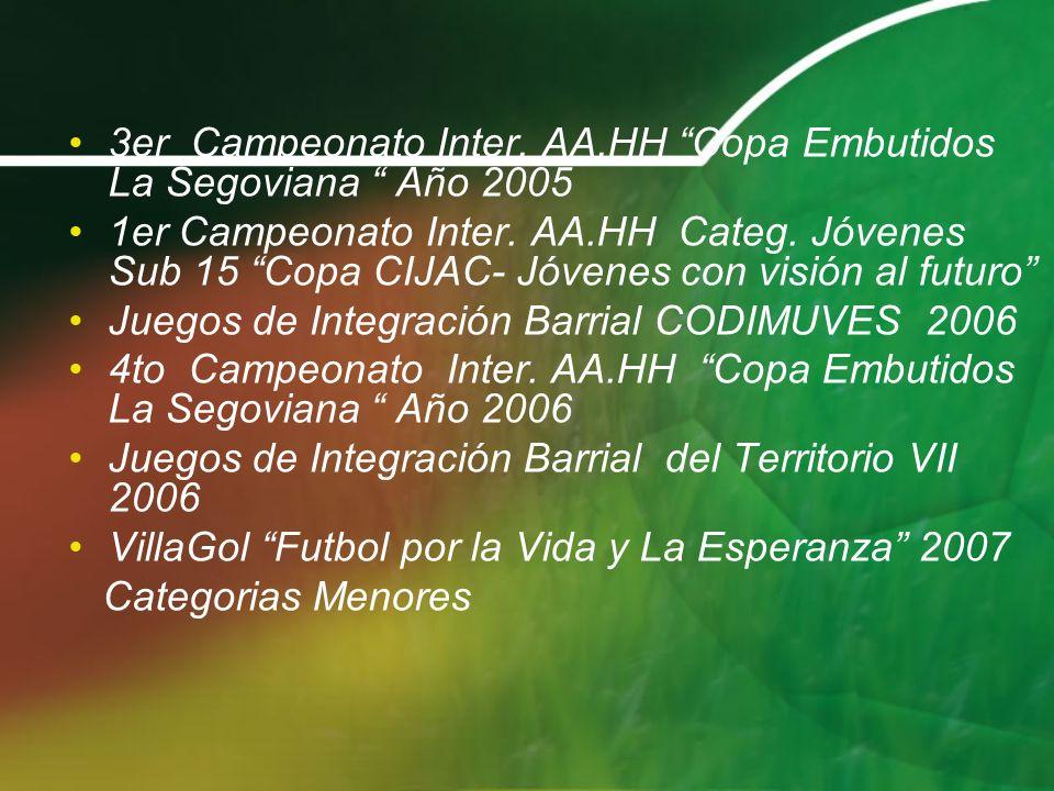 3er Campeonato Inter. AA.HH Copa Embutidos La Segoviana Año 2005 1er Campeonato Inter. AA.HH Categ. Jóvenes Sub 15 Copa CIJAC- Jóvenes con visión al f