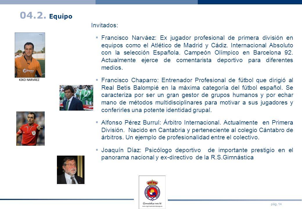 pág. 14 04.2. Equipo Invitados: Francisco Narváez: Ex jugador profesional de primera división en equipos como el Atlético de Madrid y Cádiz. Internaci