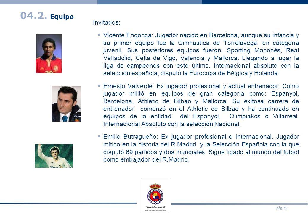 pág. 15 04.2. Equipo Invitados: Vicente Engonga: Jugador nacido en Barcelona, aunque su infancia y su primer equipo fue la Gimnástica de Torrelavega,