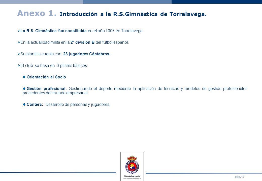 pág. 17 Anexo 1. Introducción a la R.S.Gimnástica de Torrelavega. La R.S..Gimnástica fue constituida en el año 1907 en Torrelavega. En la actualidad m