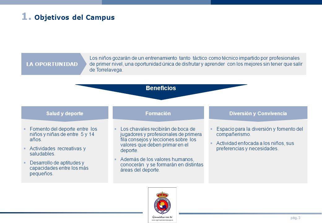 pág. 3 1. Objetivos del Campus Los niños gozarán de un entrenamiento tanto táctico como técnico impartido por profesionales de primer nivel, una oport