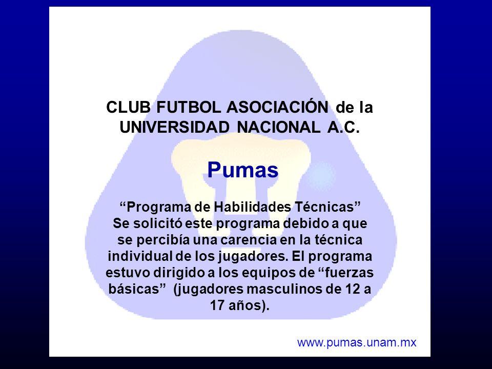 CLUB FUTBOL ASOCIACIÓN de la UNIVERSIDAD NACIONAL A.C. Pumas Programa de Habilidades Técnicas Se solicitó este programa debido a que se percibía una c
