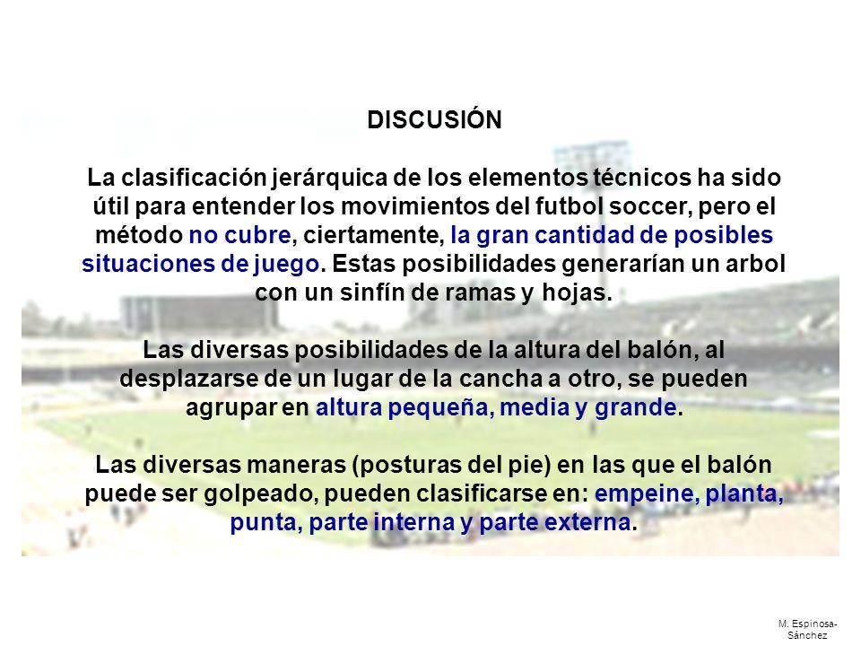 DISCUSIÓN La clasificación jerárquica de los elementos técnicos ha sido útil para entender los movimientos del futbol soccer, pero el método no cubre,