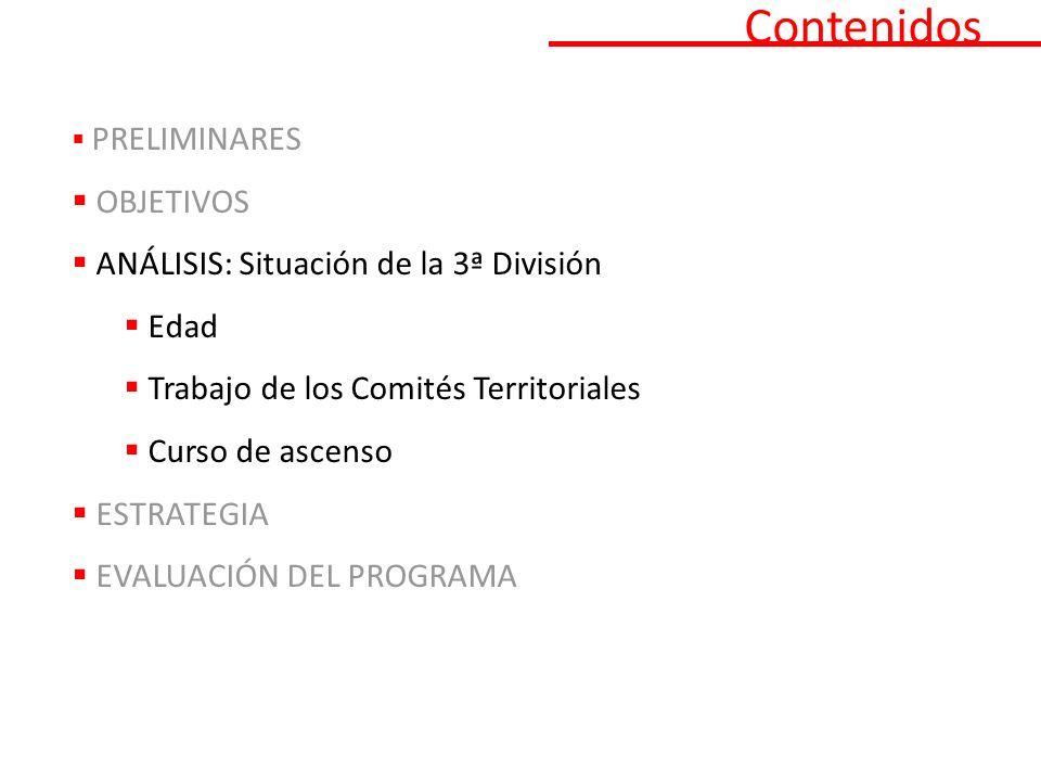 Contenidos PRELIMINARES OBJETIVOS ANÁLISIS: Situación de la 3ª División Edad Trabajo de los Comités Territoriales Curso de ascenso ESTRATEGIA EVALUACIÓN DEL PROGRAMA