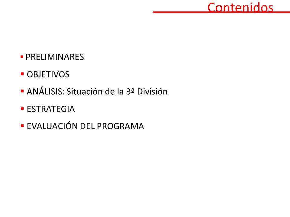 Contenidos PRELIMINARES OBJETIVOS ANÁLISIS: Situación de la 3ª División ESTRATEGIA EVALUACIÓN DEL PROGRAMA