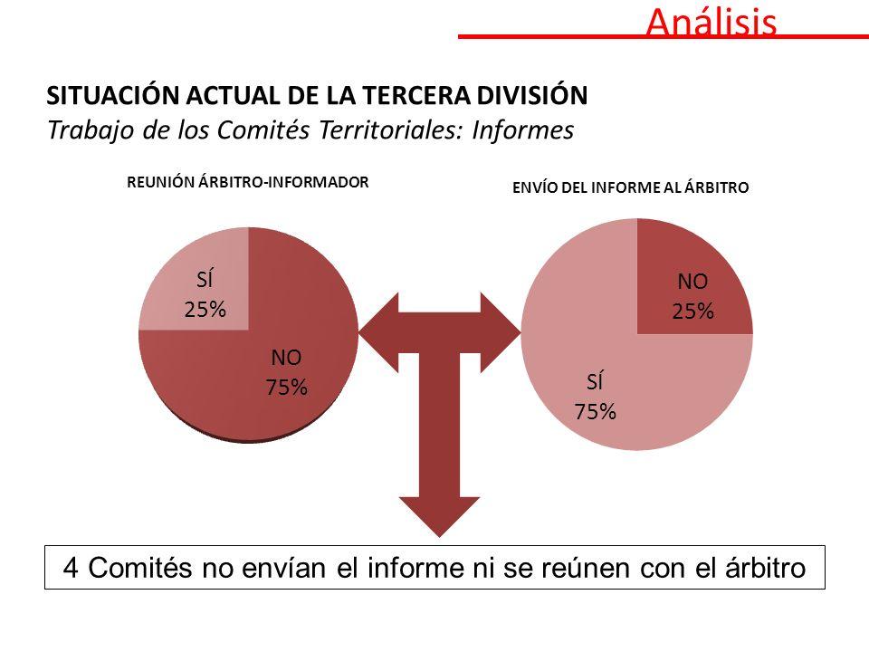 Análisis SITUACIÓN ACTUAL DE LA TERCERA DIVISIÓN Trabajo de los Comités Territoriales: Informes 4 Comités no envían el informe ni se reúnen con el árbitro
