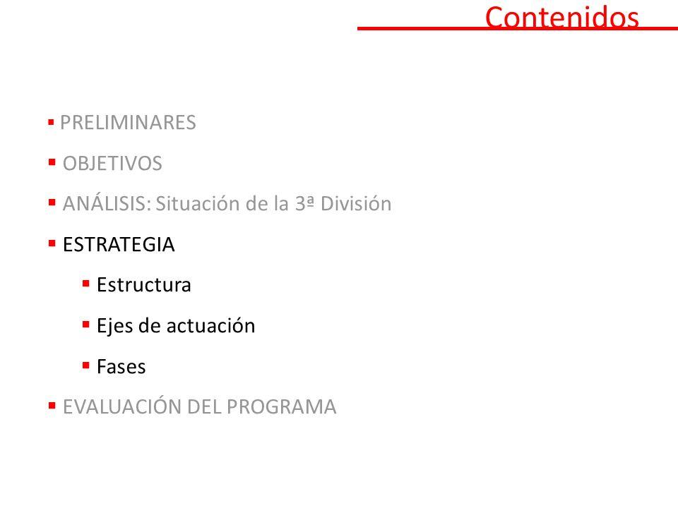 Contenidos PRELIMINARES OBJETIVOS ANÁLISIS: Situación de la 3ª División ESTRATEGIA Estructura Ejes de actuación Fases EVALUACIÓN DEL PROGRAMA