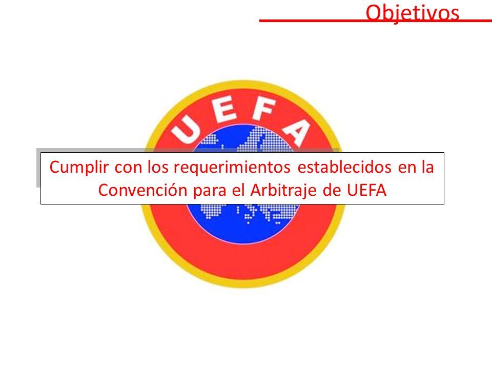 Objetivos Cumplir con los requerimientos establecidos en la Convención para el Arbitraje de UEFA