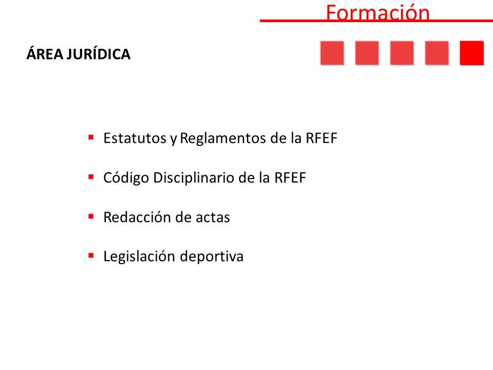 Estatutos y Reglamentos de la RFEF Código Disciplinario de la RFEF Redacción de actas Legislación deportiva Formación ÁREA JURÍDICA