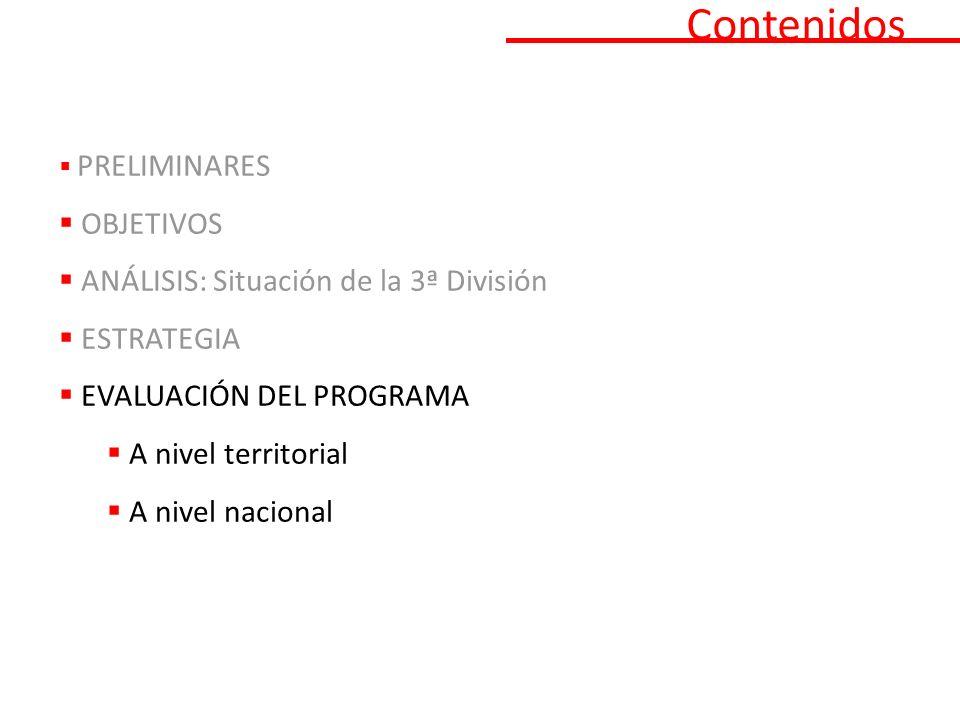 Contenidos PRELIMINARES OBJETIVOS ANÁLISIS: Situación de la 3ª División ESTRATEGIA EVALUACIÓN DEL PROGRAMA A nivel territorial A nivel nacional