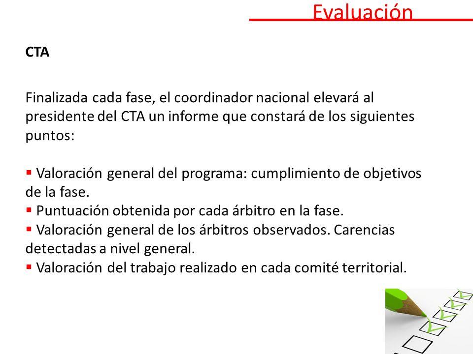 Evaluación CTA Finalizada cada fase, el coordinador nacional elevará al presidente del CTA un informe que constará de los siguientes puntos: Valoración general del programa: cumplimiento de objetivos de la fase.