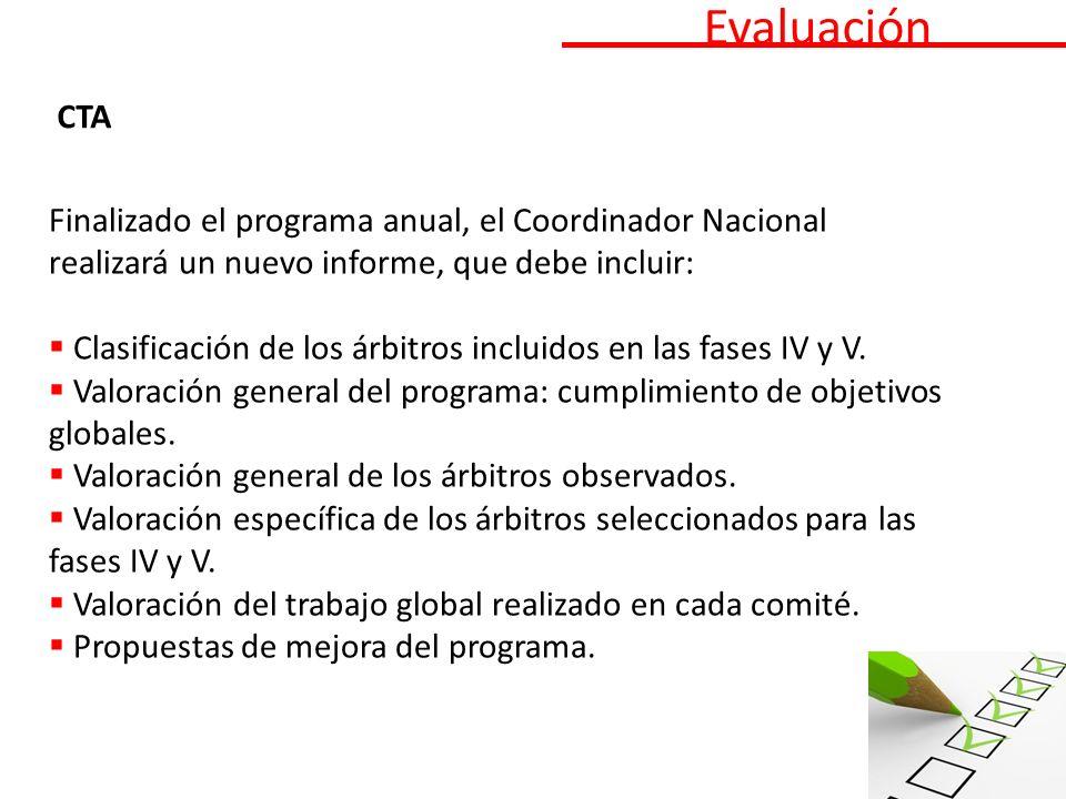 Evaluación CTA Finalizado el programa anual, el Coordinador Nacional realizará un nuevo informe, que debe incluir: Clasificación de los árbitros incluidos en las fases IV y V.