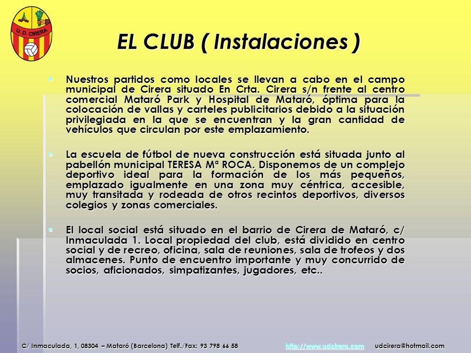 EL CLUB ( Instalaciones ) Nuestros partidos como locales se llevan a cabo en el campo municipal de Cirera situado En Crta. Cirera s/n frente al centro