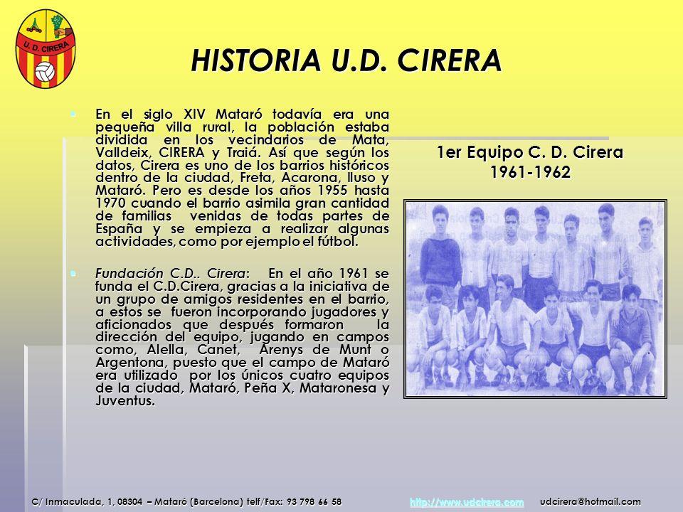 HISTORIA U.D. CIRERA En el siglo XIV Mataró todavía era una pequeña villa rural, la población estaba dividida en los vecindarios de Mata, Valldeix, CI