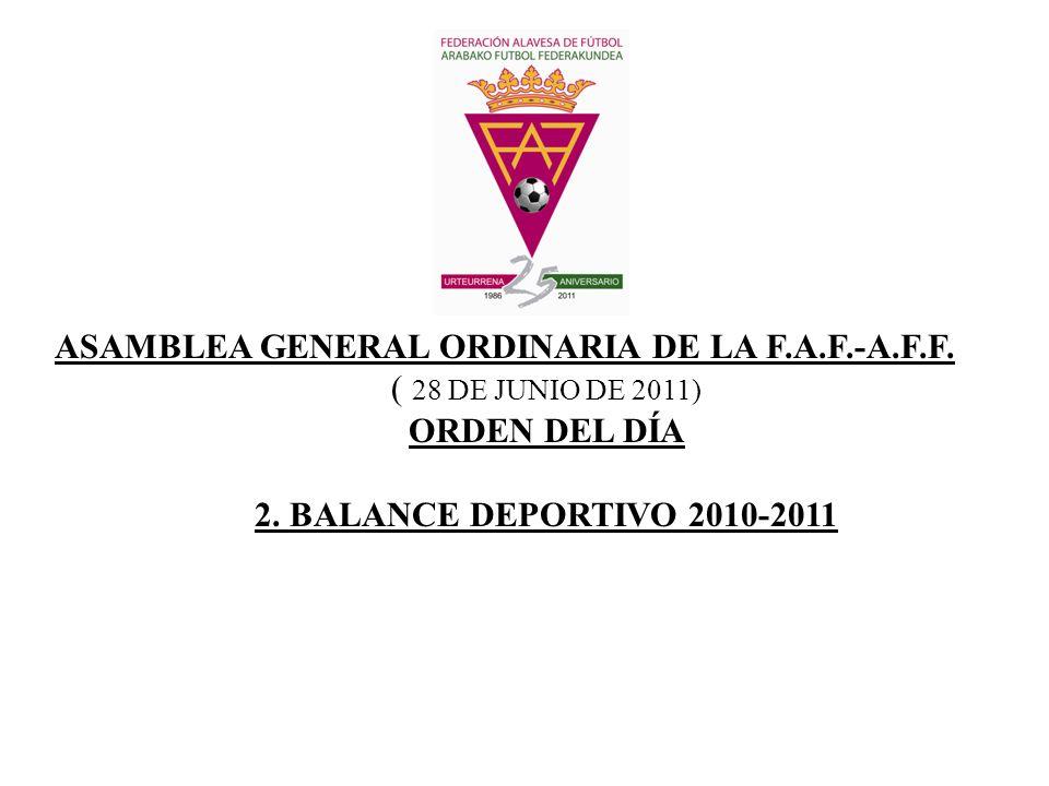 ASAMBLEA GENERAL ORDINARIA DE LA F.A.F.-A.F.F. ( 28 DE JUNIO DE 2011) ORDEN DEL DÍA 2. BALANCE DEPORTIVO 2010-2011