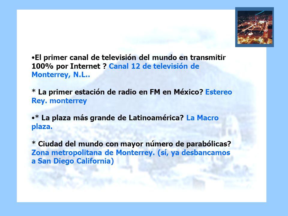 El primer canal de televisión del mundo en transmitir 100% por Internet ? Canal 12 de televisión de Monterrey, N.L.. * La primer estación de radio en
