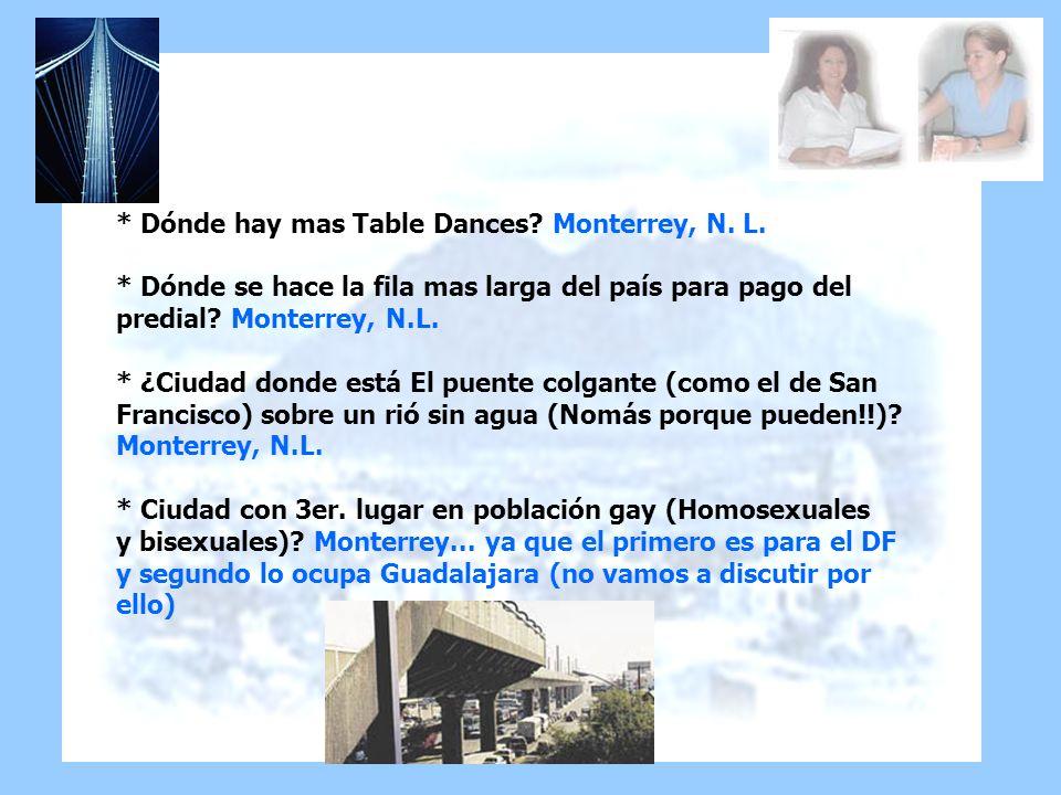 * Dónde hay mas Table Dances? Monterrey, N. L. * Dónde se hace la fila mas larga del país para pago del predial? Monterrey, N.L. * ¿Ciudad donde está