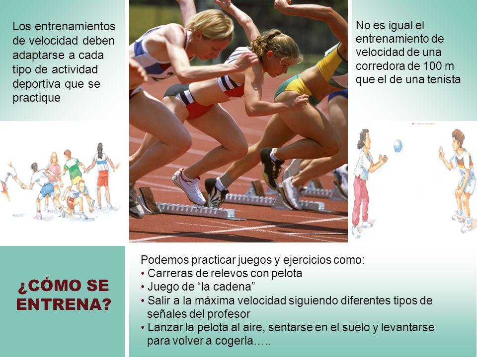 ¿CÓMO SE ENTRENA? No es igual el entrenamiento de velocidad de una corredora de 100 m que el de una tenista Los entrenamientos de velocidad deben adap