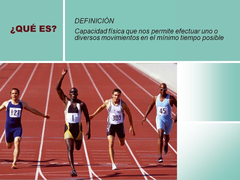 DEFINICIÓN Capacidad física que nos permite efectuar uno o diversos movimientos en el mínimo tiempo posible