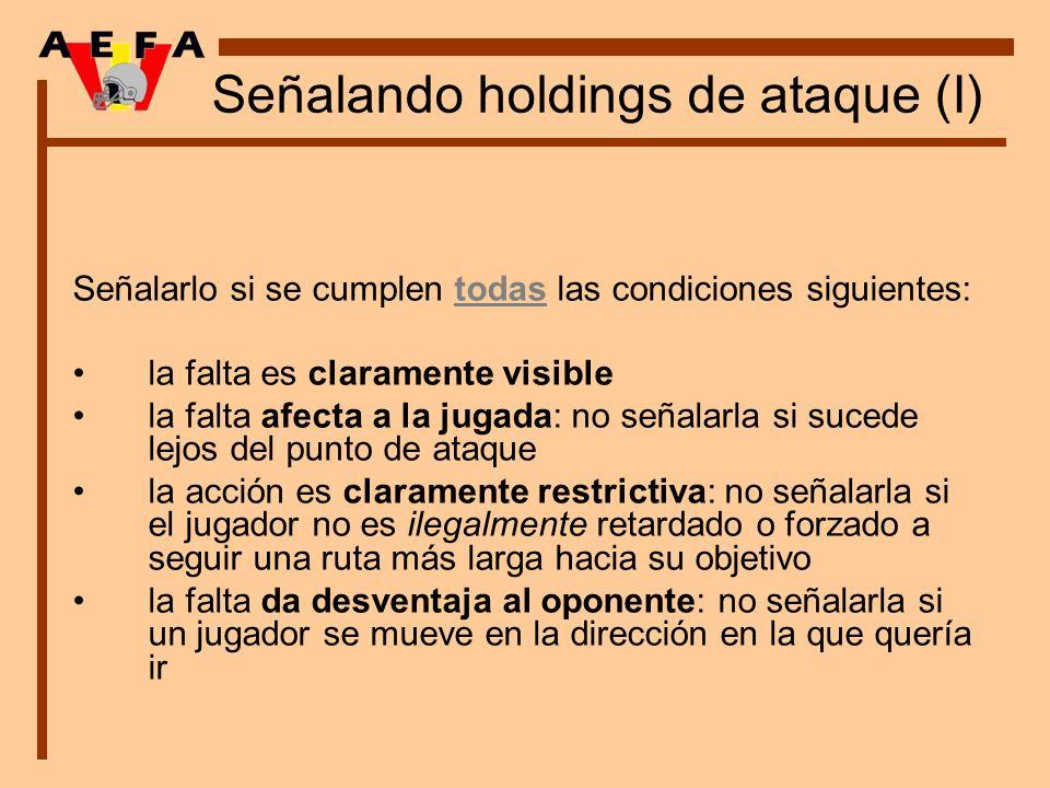 Señalando holdings de ataque (I) Señalarlo si se cumplen todas las condiciones siguientes: la falta es claramente visible la falta afecta a la jugada:
