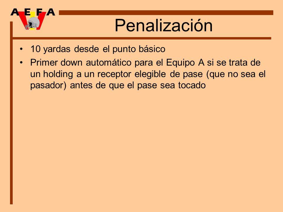 Penalización 10 yardas desde el punto básico Primer down automático para el Equipo A si se trata de un holding a un receptor elegible de pase (que no