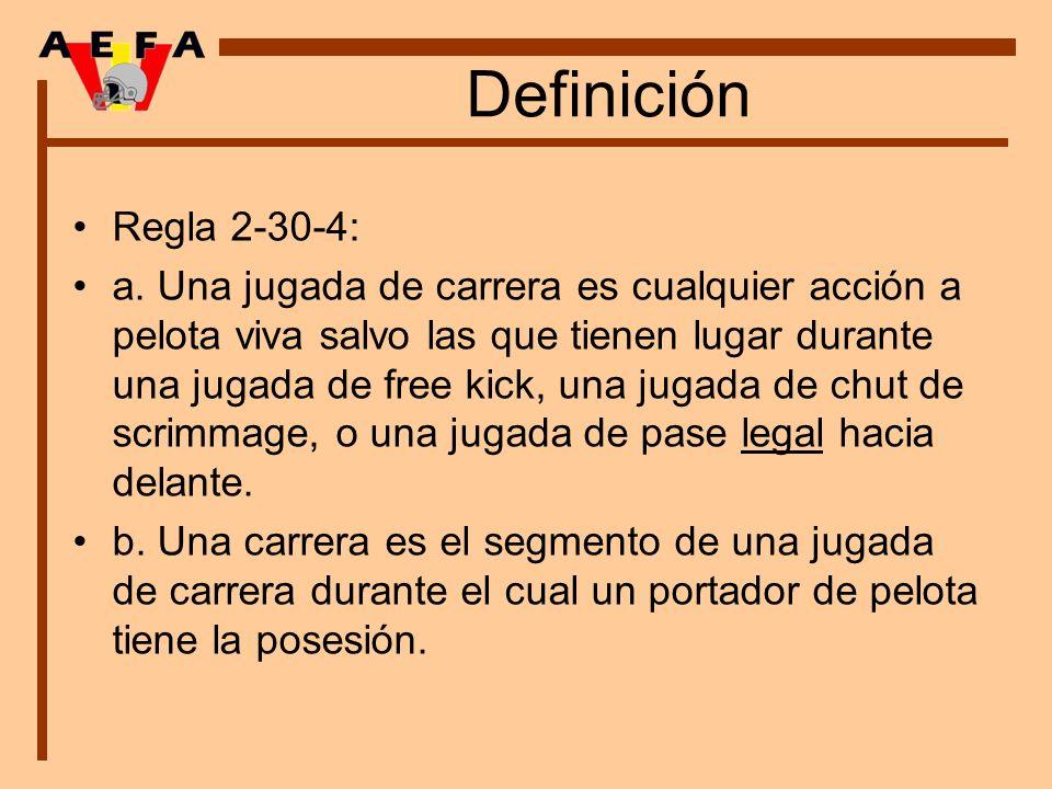 Definición Regla 2-30-4: a. Una jugada de carrera es cualquier acción a pelota viva salvo las que tienen lugar durante una jugada de free kick, una ju