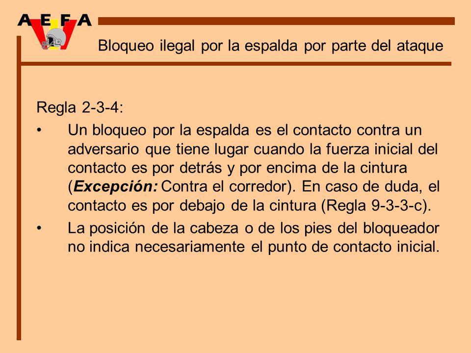 Bloqueo ilegal por la espalda por parte del ataque Regla 2-3-4: Un bloqueo por la espalda es el contacto contra un adversario que tiene lugar cuando l