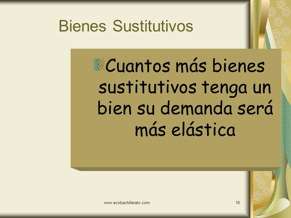 www.ecobachillerato.com9 Primera Necesidad vs lujo Primera Necesidad Demanda Inelástica Lujo Demanda elástica
