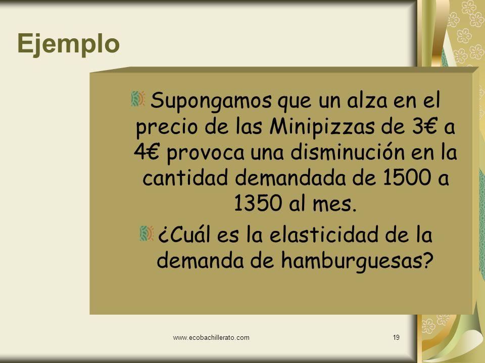 www.ecobachillerato.com18 Calculo de la elasticidad de la demanda pd = Variación % de la cantidad demanda Variación % del precio