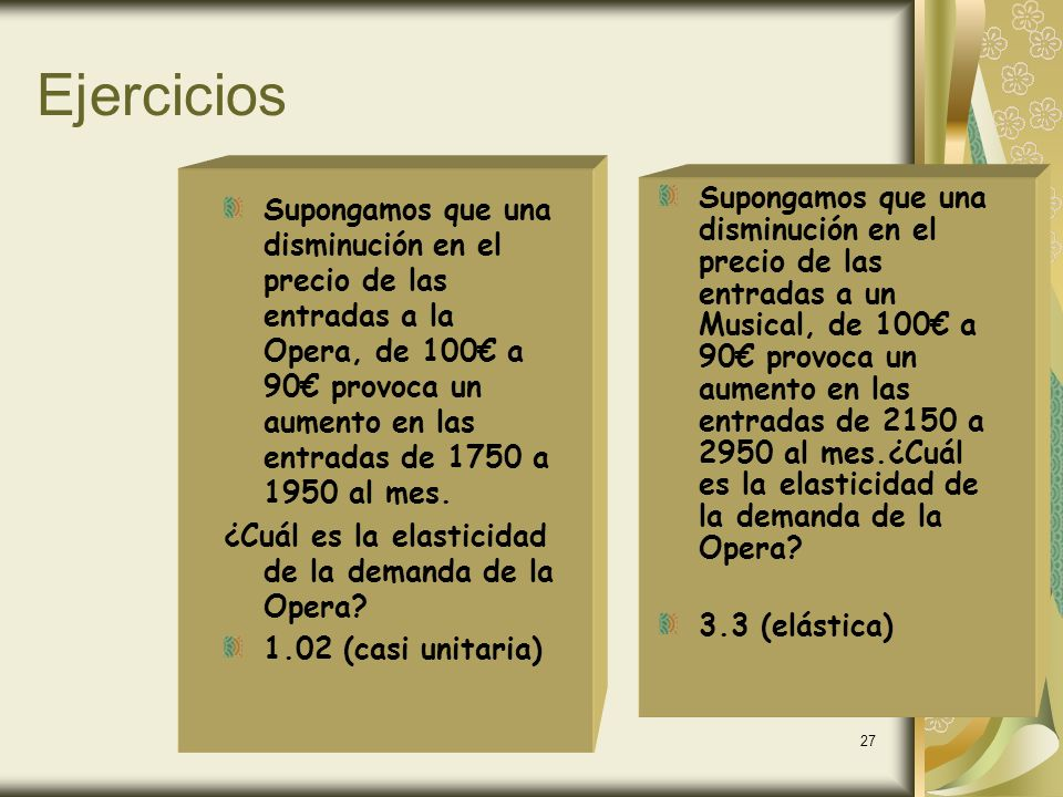 www.ecobachillerato.com26 Demanda Unitaria Cantidad Precio P1P1P1P1 P0P0P0P0 Q 0 Q 0 D0D0