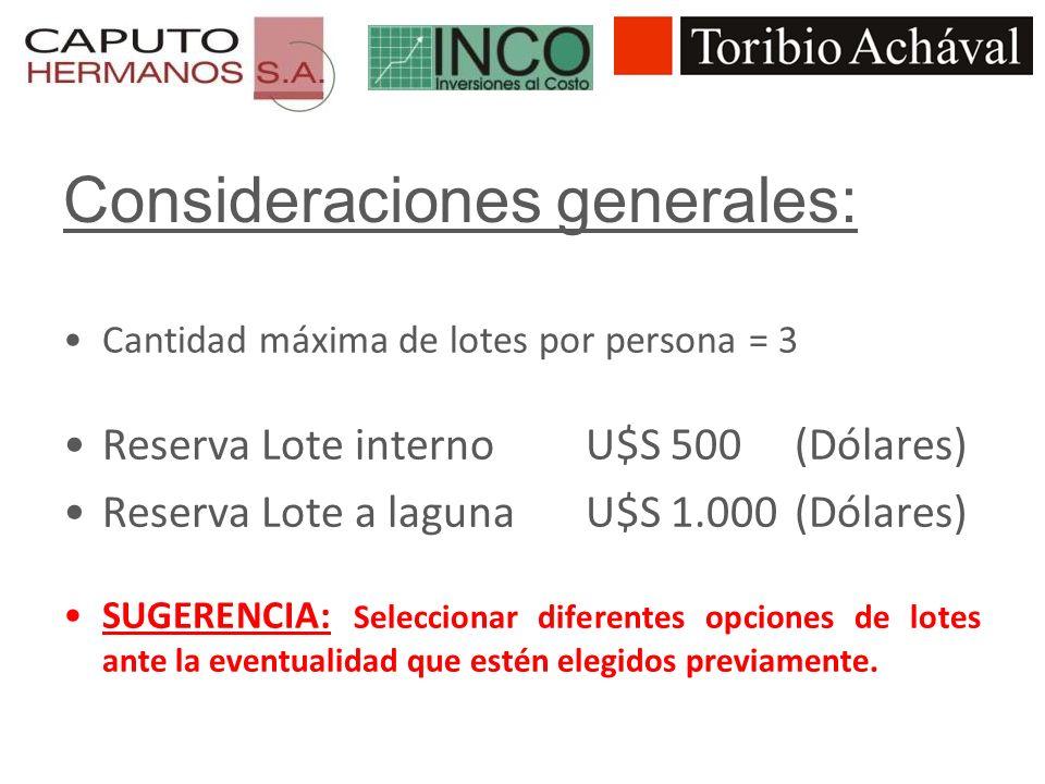 Consideraciones generales: Cantidad máxima de lotes por persona = 3 Reserva Lote interno U$S 500 (Dólares) Reserva Lote a laguna U$S 1.000 (Dólares) S