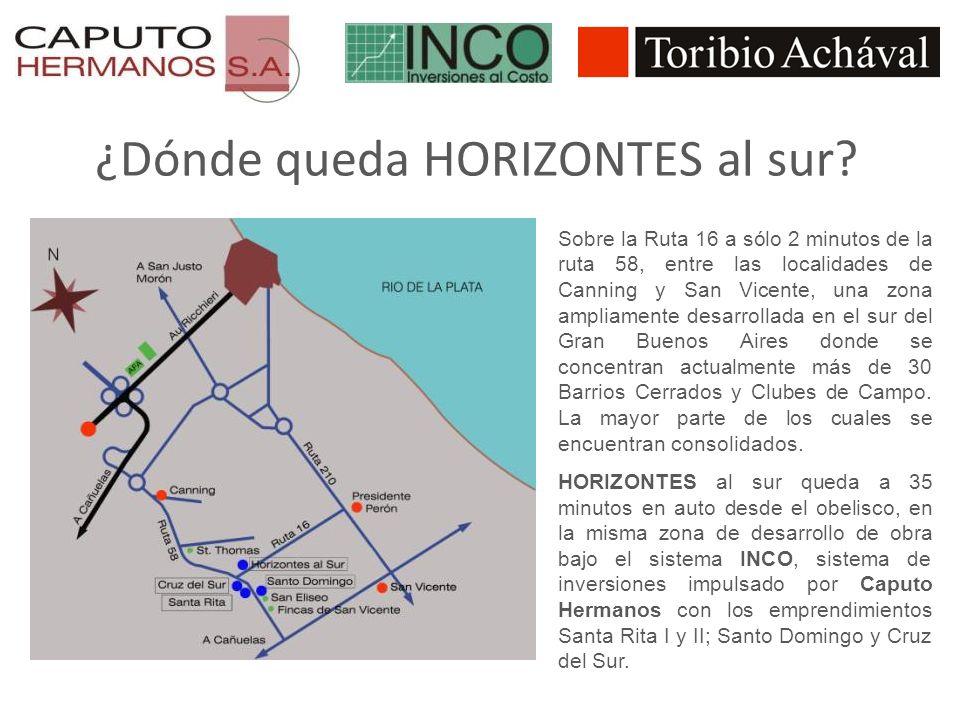 ¿Dónde queda HORIZONTES al sur? Sobre la Ruta 16 a sólo 2 minutos de la ruta 58, entre las localidades de Canning y San Vicente, una zona ampliamente