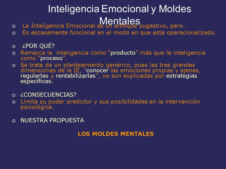 Inteligencia Emocional y Moldes Mentales La Inteligencia Emocional es un enfoque sugestivo, pero… Es escasamente funcional en el modo en que está operacionalizado.