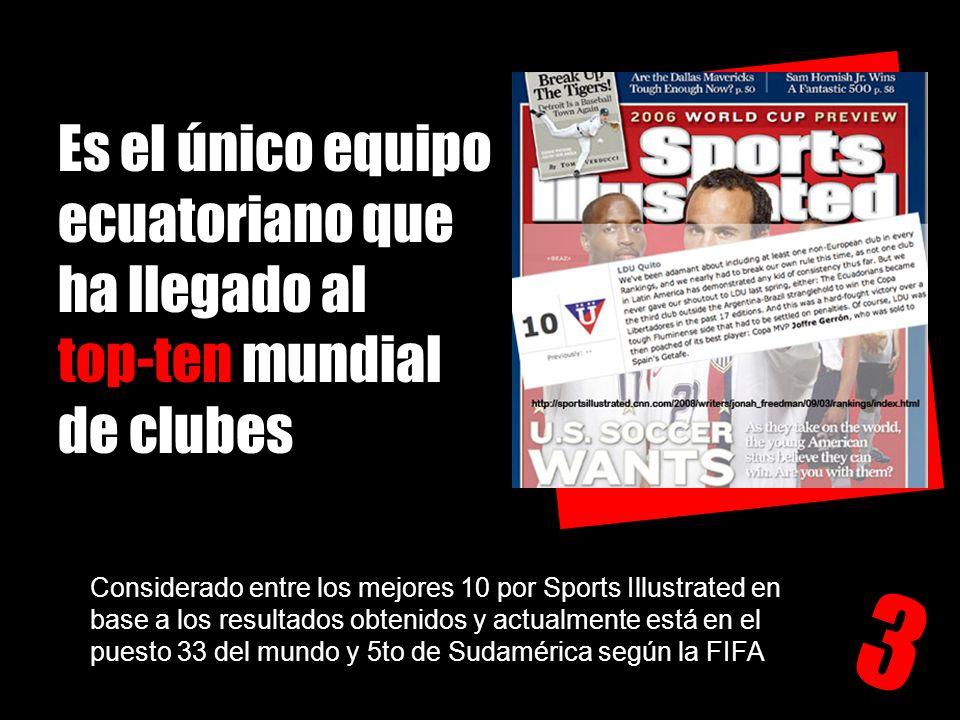 Es el único equipo ecuatoriano que ha llegado al top-ten mundial de clubes 3 Considerado entre los mejores 10 por Sports Illustrated en base a los res