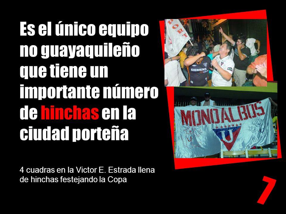 Es el único equipo no guayaquileño que tiene un importante número de hinchas en la ciudad porteña 4 cuadras en la Victor E. Estrada llena de hinchas f