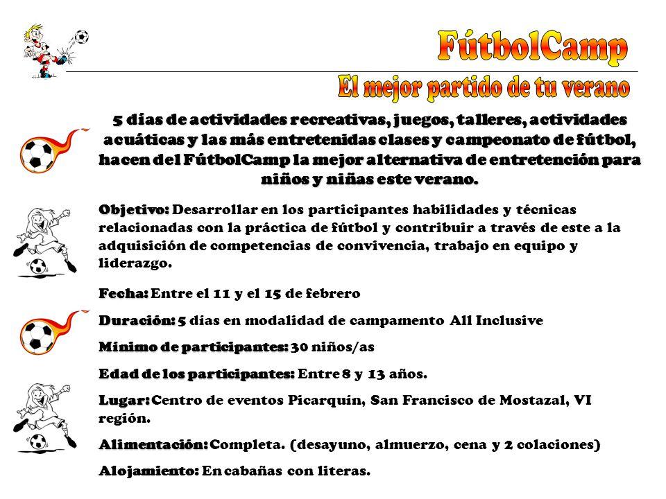 5 días de actividades recreativas, juegos, talleres, actividades acuáticas y las más entretenidas clases y campeonato de fútbol, hacen del FútbolCamp