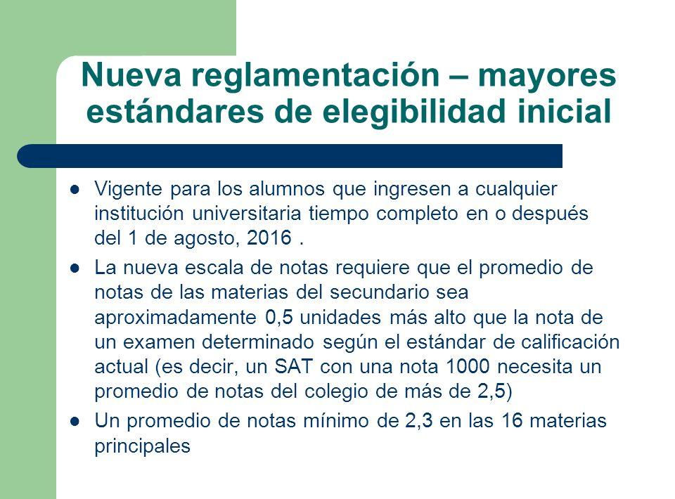 Nueva reglamentación – mayores estándares de elegibilidad inicial Vigente para los alumnos que ingresen a cualquier institución universitaria tiempo c
